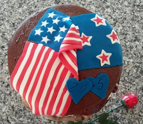 Citizenship Anniversary of 2 countries, USA and New Zealand flags cake.