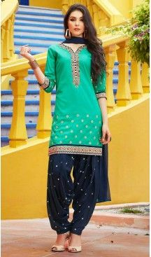 Turquoise Color Cotton Straight Cut Stitched Patiyala Suit with Dupatta | FH462372133