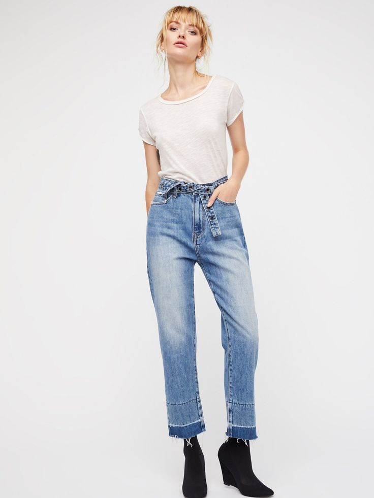 Neon Blonde Springsteen Blue Buckle Up Jean at Free People Clothing Boutique
