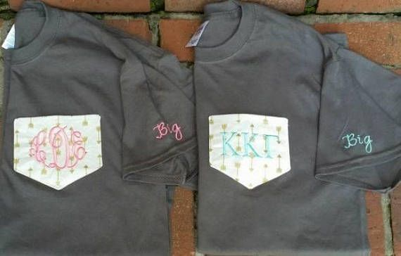 Check out this item in my Etsy shop https://www.etsy.com/listing/563328057/sorority-shirts-monogram-clothing-pocket