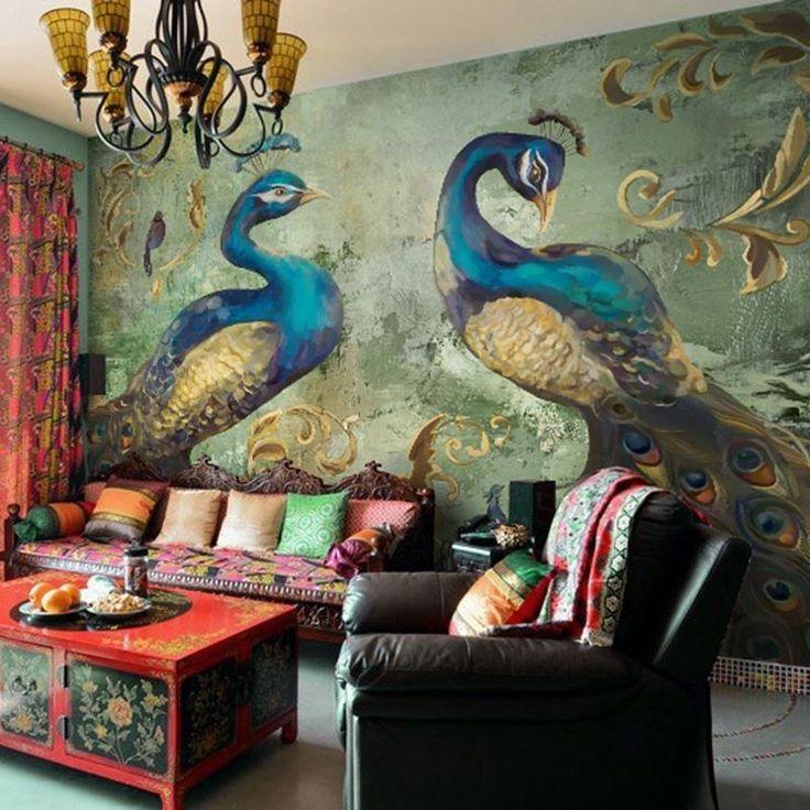 Retro Style Peacock Wallpaper Mural (㎡) (mit Bildern