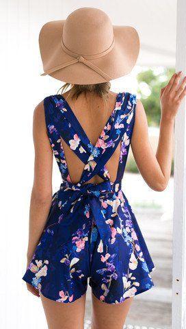 Back Cross V-neck Fashion Flower Print Short Dress - O Yours Fashion - 3