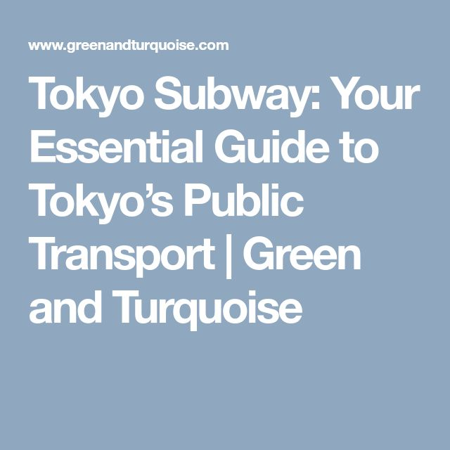 Tokyo Subway: Your Essential Guide to Tokyo's Public Transport   Green and Turquoise