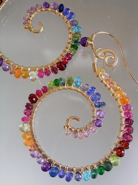 Arco iris piedras preciosas espirales, pendientes de Nautilus, Gema montura oro aros rellenas, alambre envuelto, diseño Original, firma desde los años 90, hecho por encargo