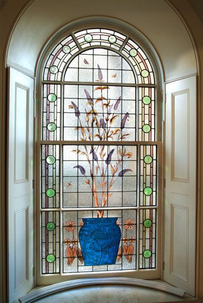 Arched Buddleia and Butterfly Sash Window