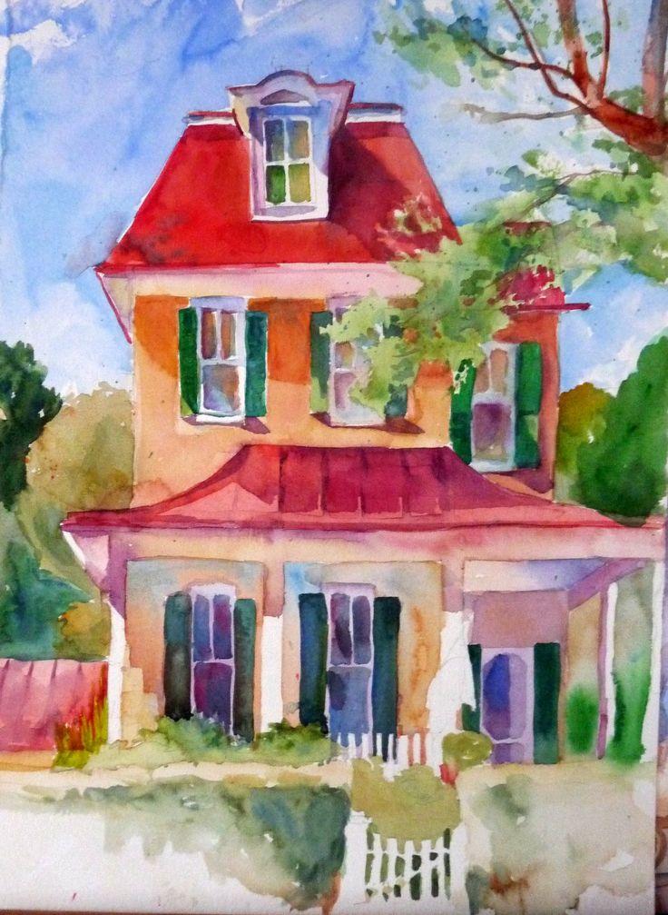Colorful house. Visit lauraswatercolors.blogspot.com
