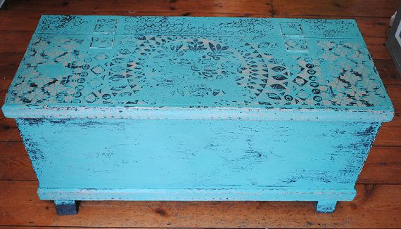 Hand Painted Wooden Chest by NicoletteTabram on Etsy, $230.00