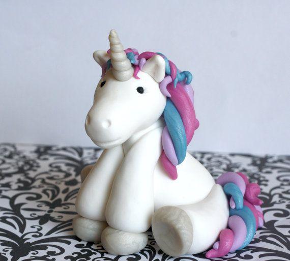 Handmade Clay Unicorn Cake Topper by JadestoneStudio on Etsy