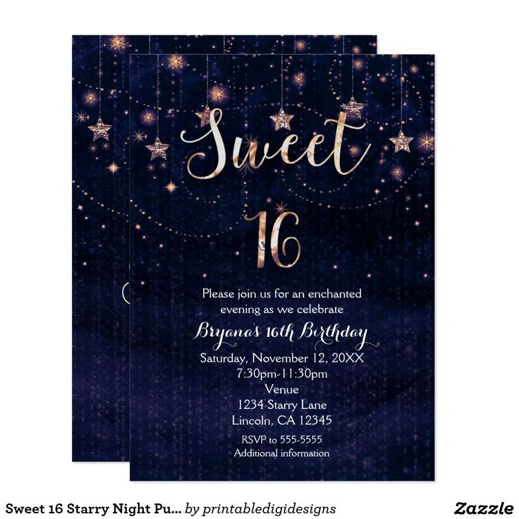 design birthday party invitations free%0A Sweet    Starry Night Purple  u     Gold Invitation