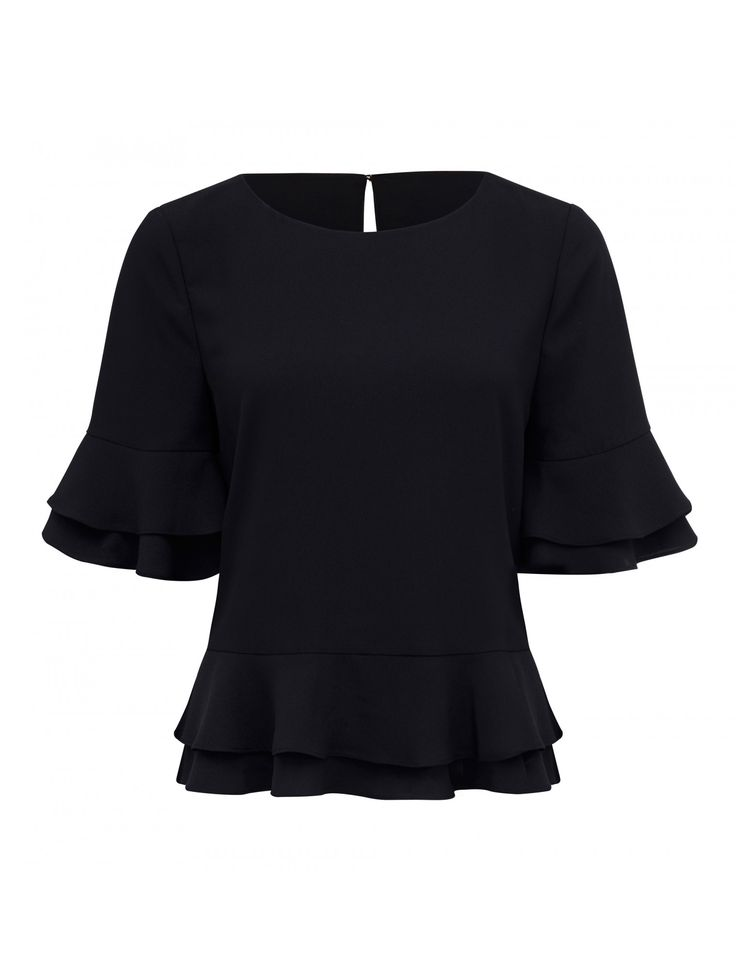 Discover a new wardrobe favourite and channel chic sophistication with our Maggie Double Frill Sleeve Top, sure to see you transition effortlessly from day to night.