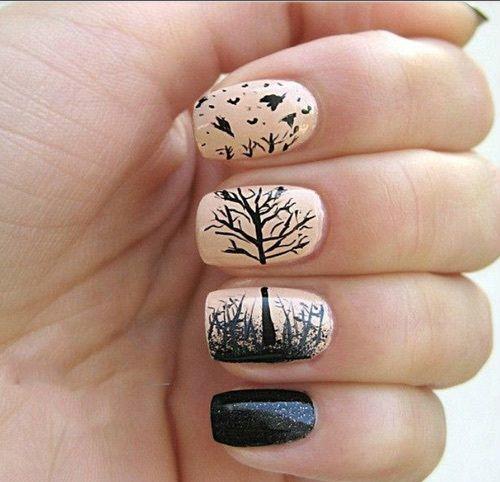 nails, tree, and nail art image