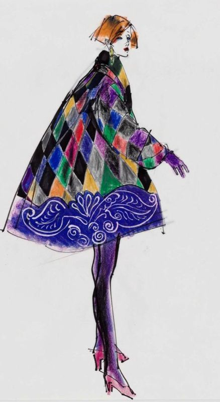 By Kenneth Paul Block, 1 9 9 0, model in harlequin-inspired swing coat by  Gianni Versace, W Magazine.
