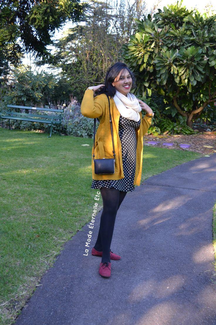 Gone with the wind! #mustardcardigan #polkadotdress #scarf #oxbloodshoes