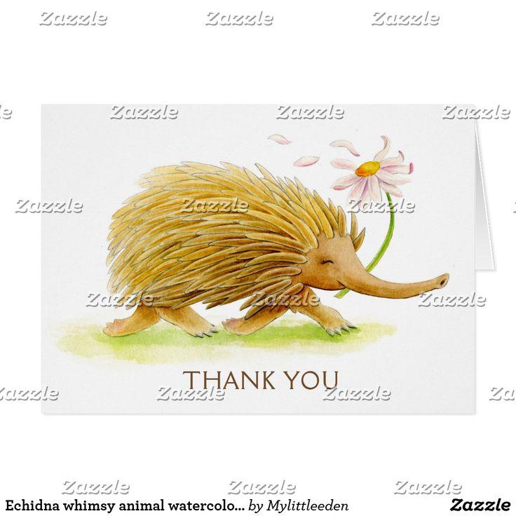 Echidna whimsy animal watercolor art card. Original art by Sarah Trett for www.mylittleeden.com #echidna #aussieanimals #watercolorart