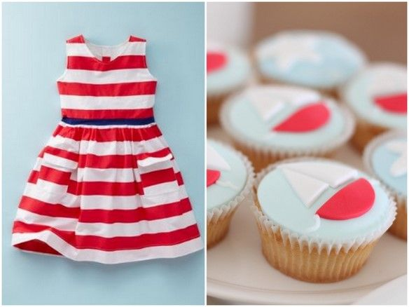 I have to post some nautical shower/party inspiration, too! Adorable dress + sailboat cupcakes!