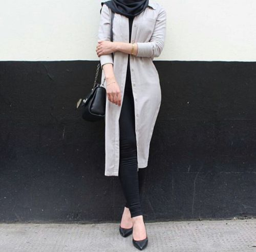 Pinterest: @eighthhorcruxx. Grey and Black. beautyofhijabs