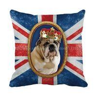 Uk Style roi Bulldog bleu Coussin pour canapé chaise siège de voiture Home Decor Almofada personnalisé Throw Coussin décoratif oreillers Coussin