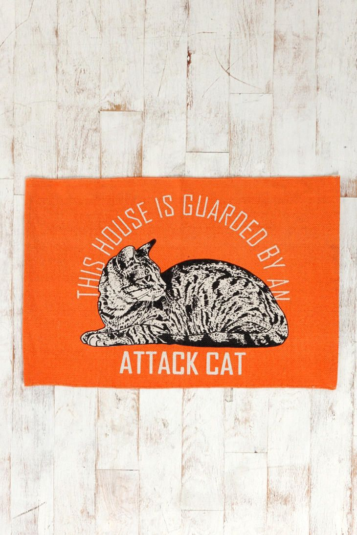 Attack-Cat: Urbanoutfitters, Urban Outfitters, Attackcat, Attack Cat, Front Doors, House, Handmade Rugs, Cat Rugs, Cat Lady