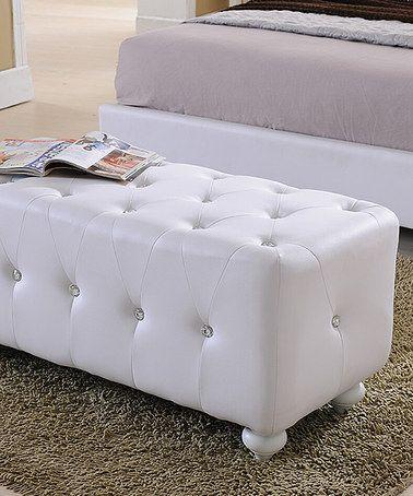 White Faux Leather Storage Bench #zulily #zulilyfinds
