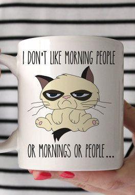 I Don't Like Morning People or Mornings Grumpy Cat Novelty Mug