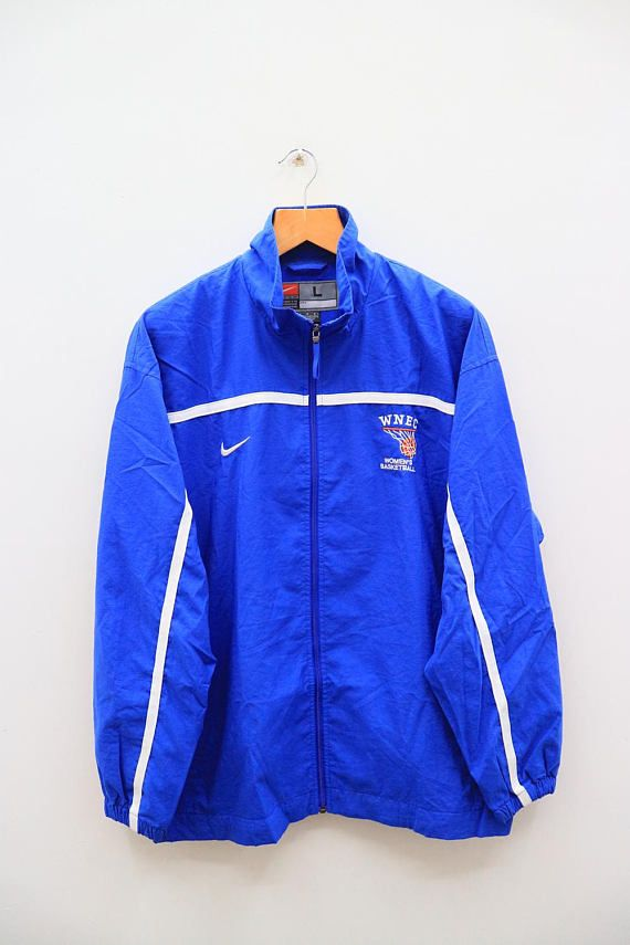 ee1742f450 Vintage NIKE Woman s Basketball Small Logo Sportswear Blue Windbreaker  Jacket Size L