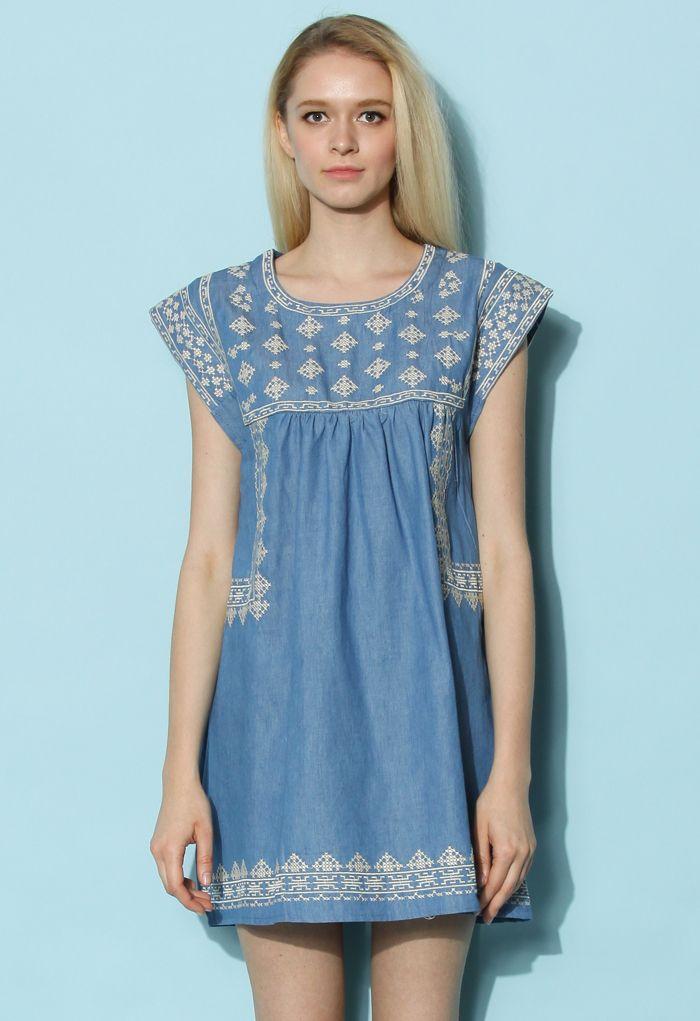 Cross-Stitch Babydoll Denim Dress - Retro, Indie and Unique Fashion