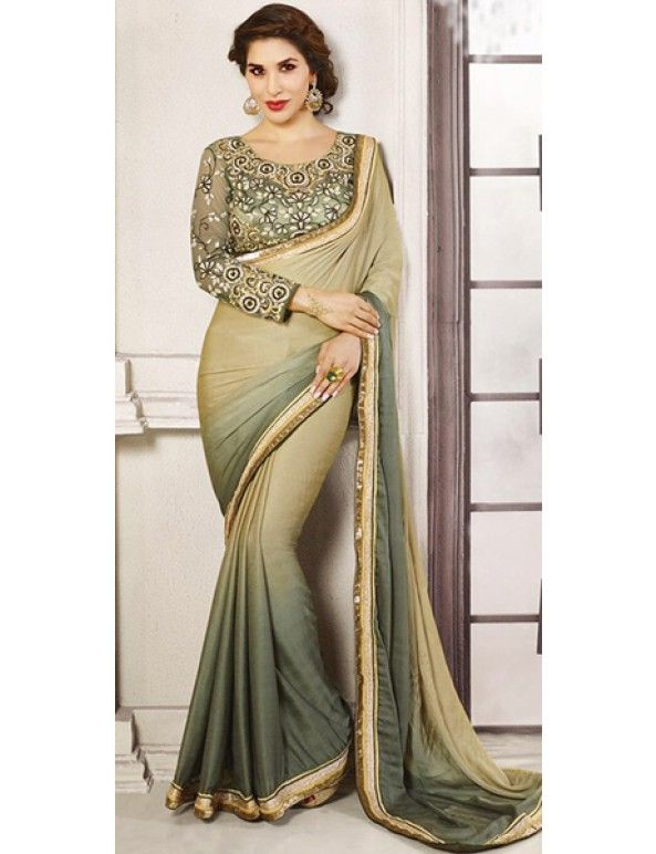 Grey And Beige Brown Shaded Georgette Self Jacquard Embroidered Saree
