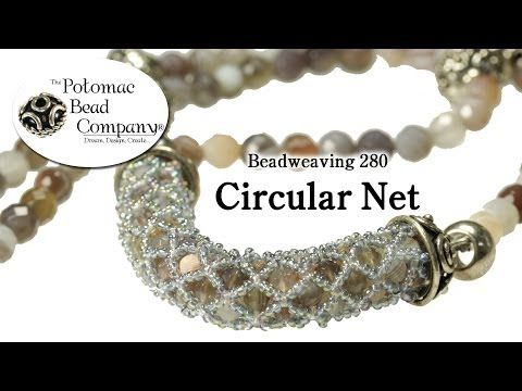 Circular Netted (Bracelet or Necklace) - YouTube---use more seed beads