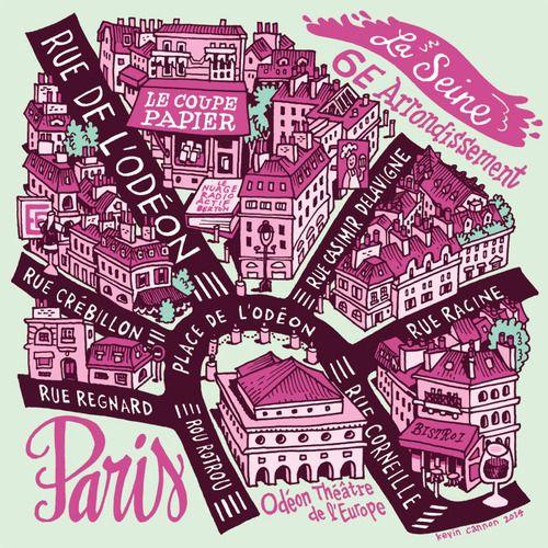 kevincannonart:  Map of the bookstore Le Coupe Papier & surrounding neighborhood.