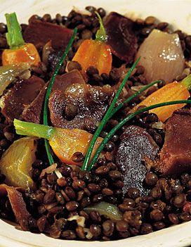 Salade de lentilles aux gésiers confits