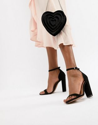 51b239376695 DESIGN Highball Suede Barely There Block Heeled Sandals