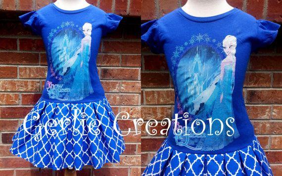 Frozen Elsa Dress Girls Dress Dark Blue Dress by GerlieCreations