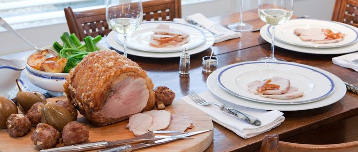 Roast Leg of Pork with Pear and Sausage Stuffing Balls