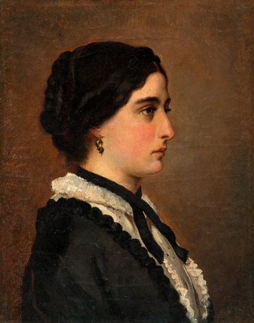 A young woman in black