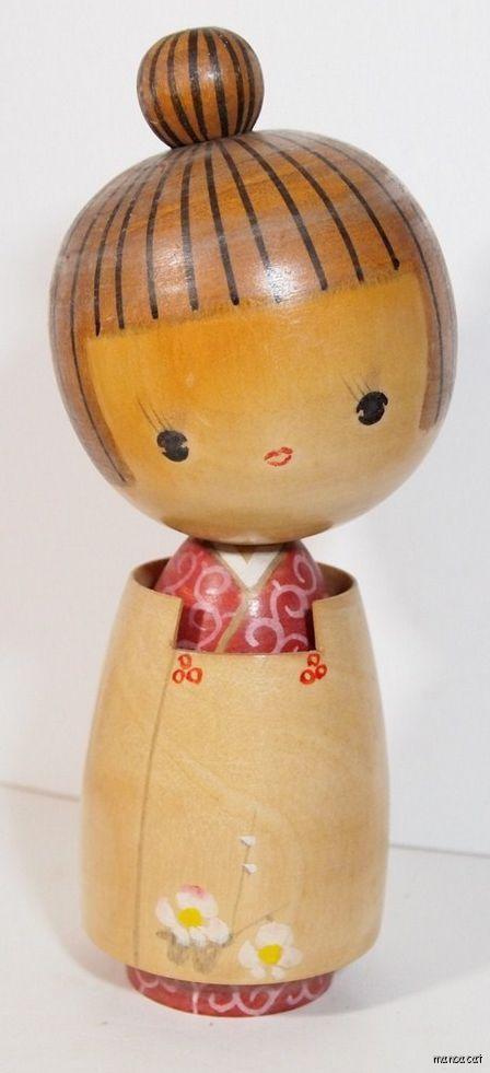 Japanese Sosaku Kokeshi Doll by Fujikawa Shoei Early Design