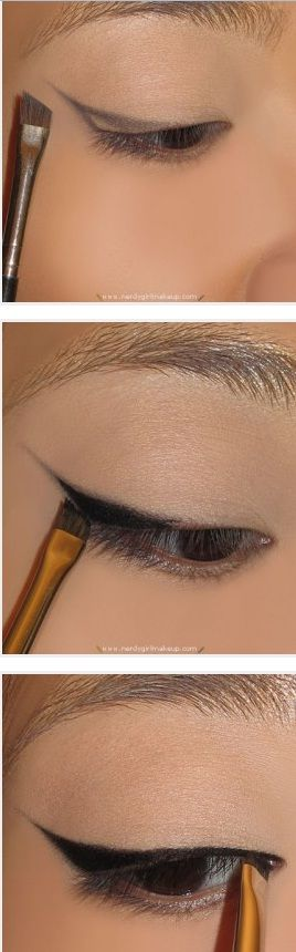 Use an angled brush to create the line then gel liner and mac 211 brush to fill it in!