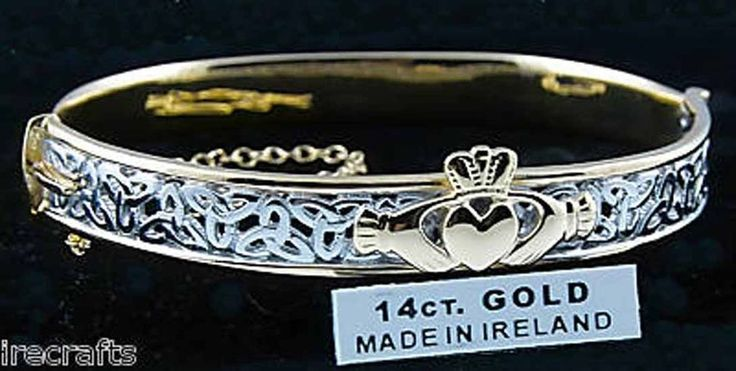 14k White Gold Sterling Silver Claddagh Celtic Knot Bangle