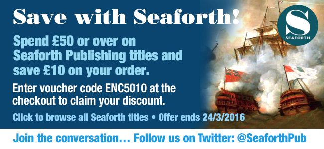 Here's a great little carrot to dangle in front of you on this fine Thursday evening! You can save £10 when you spend £50 on more on our Seaforth titles! Just enter discount code ENC5010 at the checkout.   http://www.pen-and-sword.co.uk/Seaforth/c/56/order/published/desc