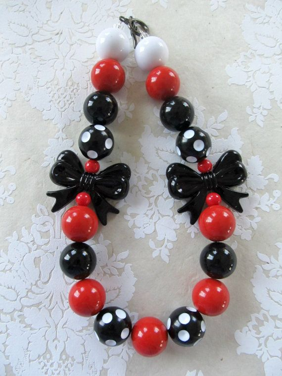 Chunky bubblegum necklace inspired by Minnie Mouse, Disney themed birthday, photo prop for girls
