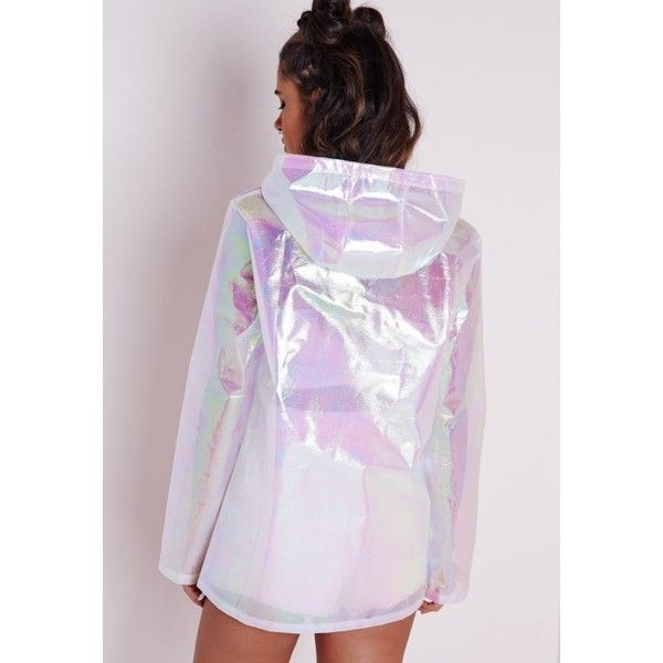 Holographic Rain Mac Pearlescent Pink ❤ liked on Polyvore featuring outerwear, coats, hooded coats, hooded raincoat, pink rain coat, rain coat and hooded rain coat