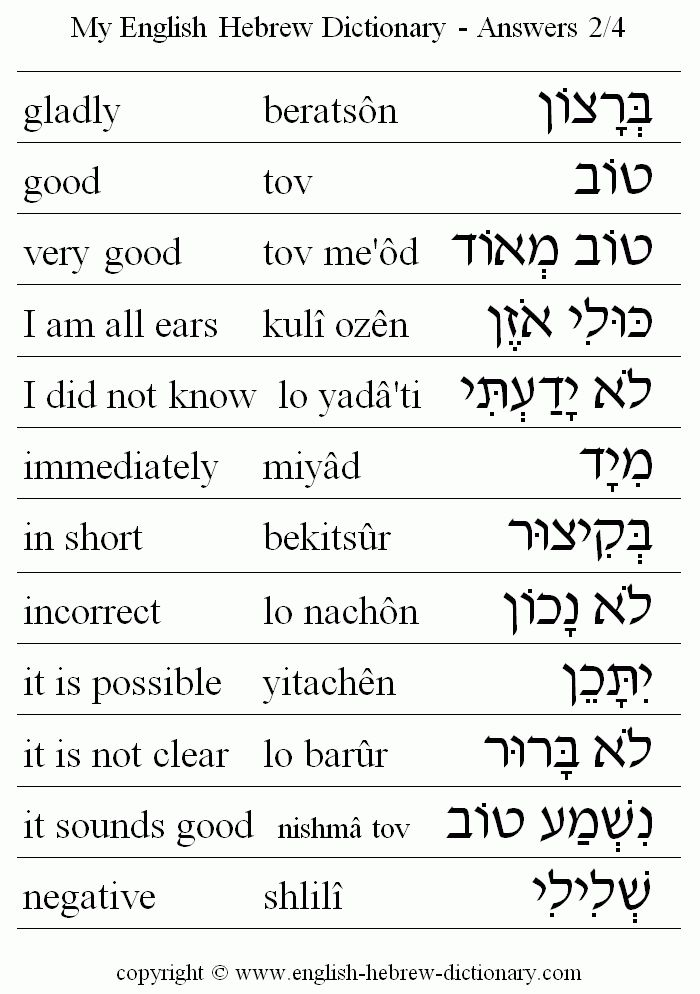 Lessons by Number - Learn to Speak Hebrew