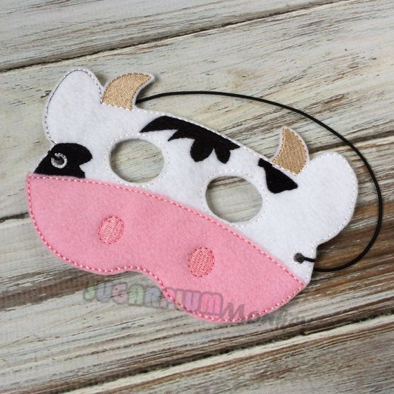 Cow Mask, Children's Felt Cow Mask, Farm Mask