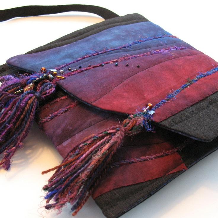 Fiber Art Purse - Midnight Blue, Purple, Red-violet. $48.00, via Etsy.