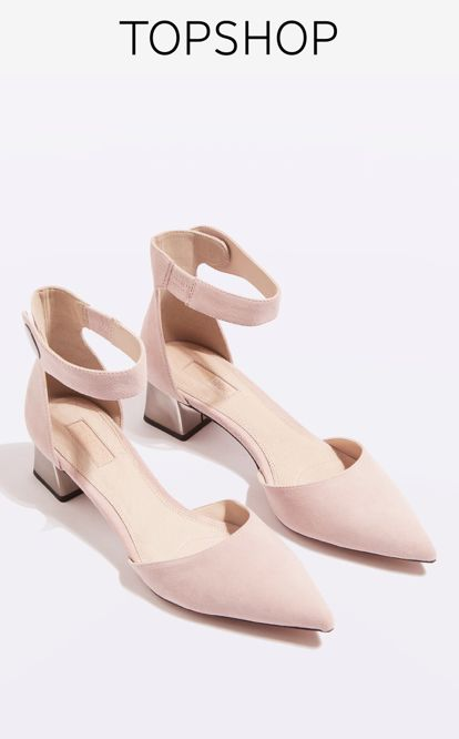 Evoke major shoes envy in these unique nude suede two-part shoes. With a comfortable low to mid heel perfect for day-to-night wear, they come with an interest heel and feature popper detail to the ankle strap.