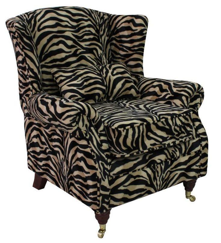 living room Ashley Fireside High Back Wing Armchair Animal Print Antelope Gold Velour Fabric