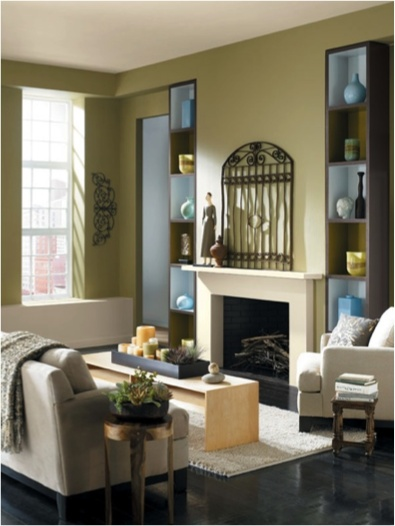 Lemon Verbena SW 7726 Adds Warmth To This Cozy Living Room