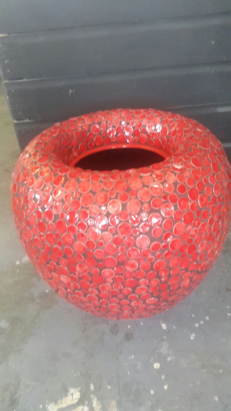 Mosaic Red Disc Pot made by Dish Studio