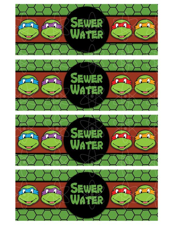 PRINTABLE WATERBOTTLE Labels Teenage Mutant Ninja by AtomDesign