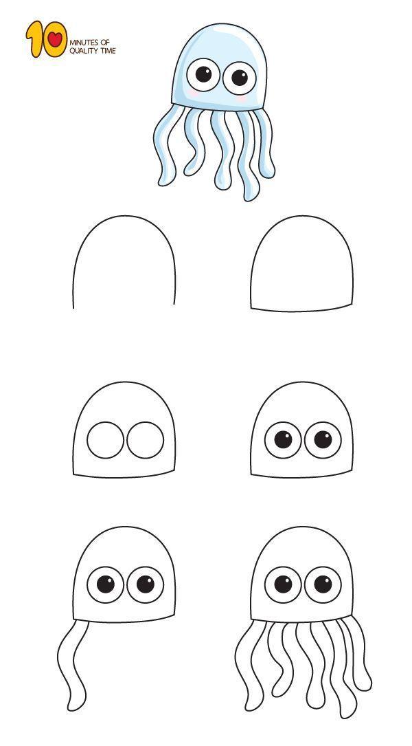Kunst Zeichnungen – How to Draw a Jellyfish For Ki…