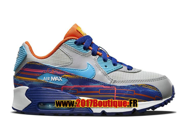 Nike Air Max 90 Premium Mesh PS Chaussure Nike Basketball Pas Cher Pour Enfant Gris/Bleu 724883-001
